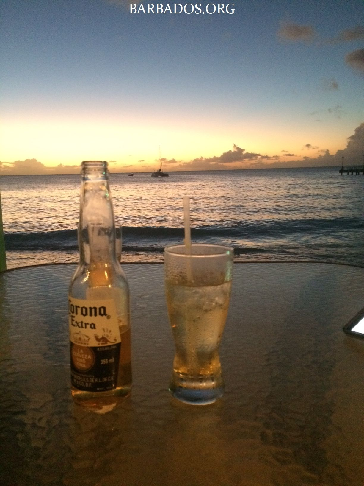 Sunset And Beer At Little Bristol Beach Bar In Speightstown
