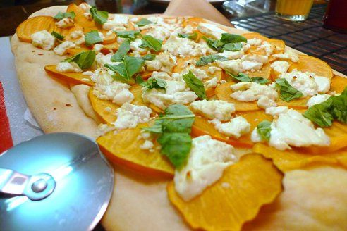Persimmons are an excellent source of Vitamin C, not to mention they are down right tasty. When fully ripened they are juicy, sweet and almost have a ginger-like spiciness to them. It's one of the tastiest fruits to thwart cold and flue season with. Enjoy this pizza with an off-dry Viogner. The variety is typically a balance between the orchard and the garden: think notes of jasmine and peach. Honeysuckle and apricot are also common. The variety is perfect for Chèvre or almost any double or…