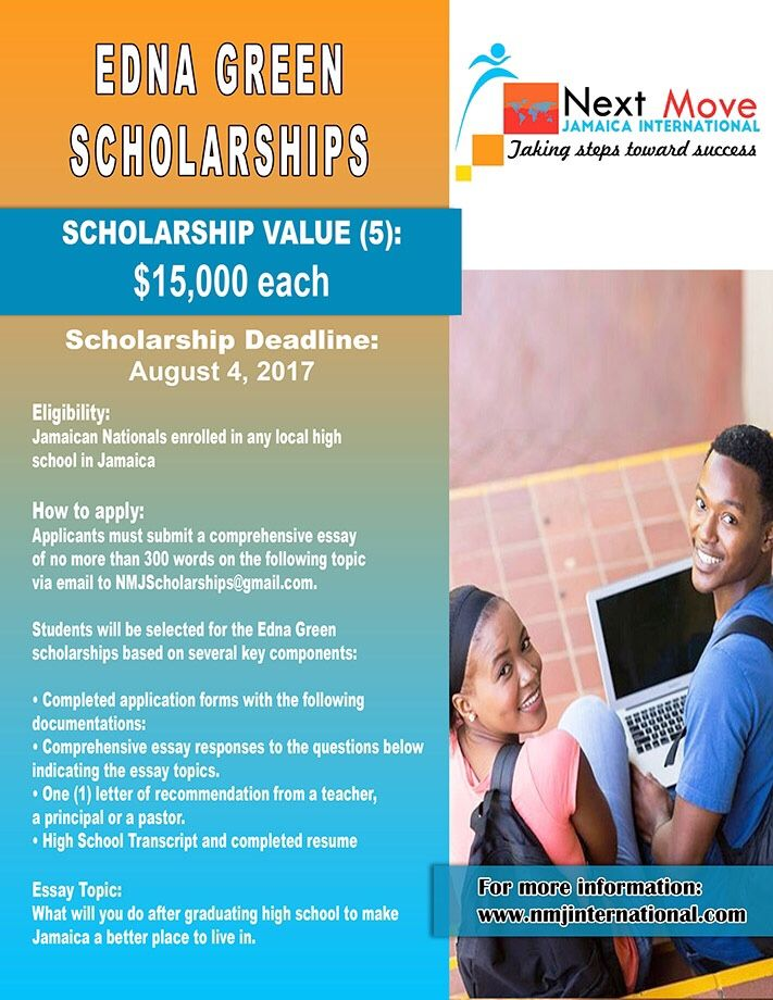 Apply For The Edna Green Scholarship High School Student In Jamaica 5 Award Valued At 15 000 Eac International College Prowler No Essay