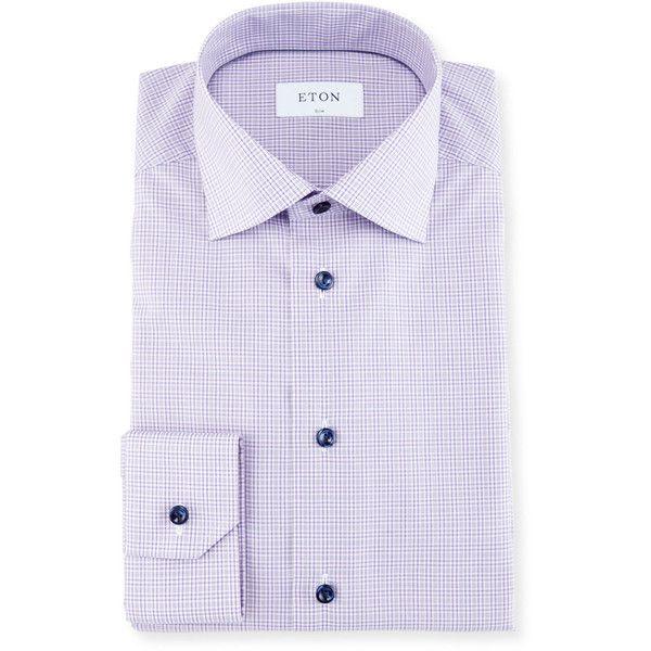 2018 New Online Mens Checked Cotton Dress Shirt Eton 2018 Newest SFiVEW