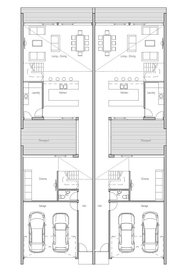 Duplex House Plan Ch108d Narrow House Plans Town House Floor Plan Duplex House Plans