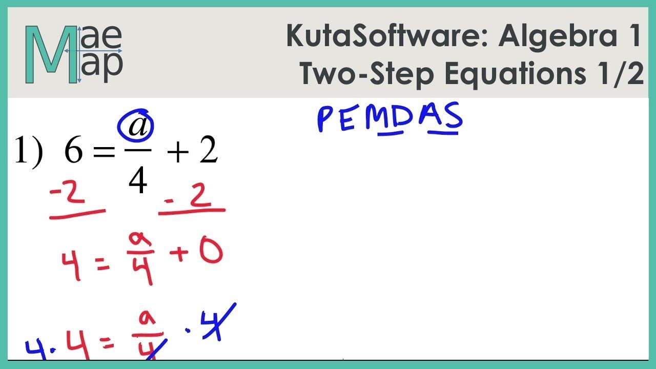 Kutasoftware Algebra 1 Two Step Equations Part 1 Youtube Two Step Equations Equations Algebra 1