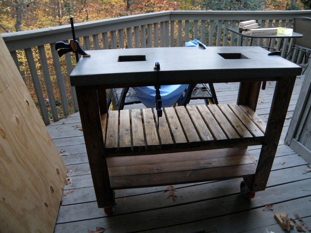 Attaching The Concrete Concrete Table Diy Concrete
