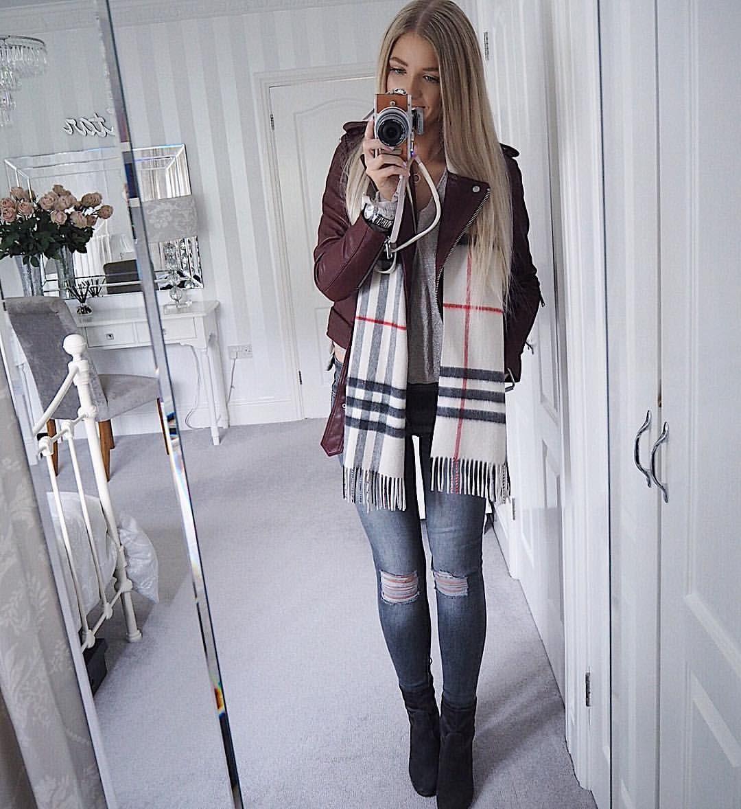 2e417bf93 Instagram @emilyjanehardy Burberry scarf, women's fashion, mango jeans,  grey denim, dune