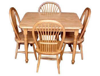 Child S Table Set With Four Sheaf Chairs Oak