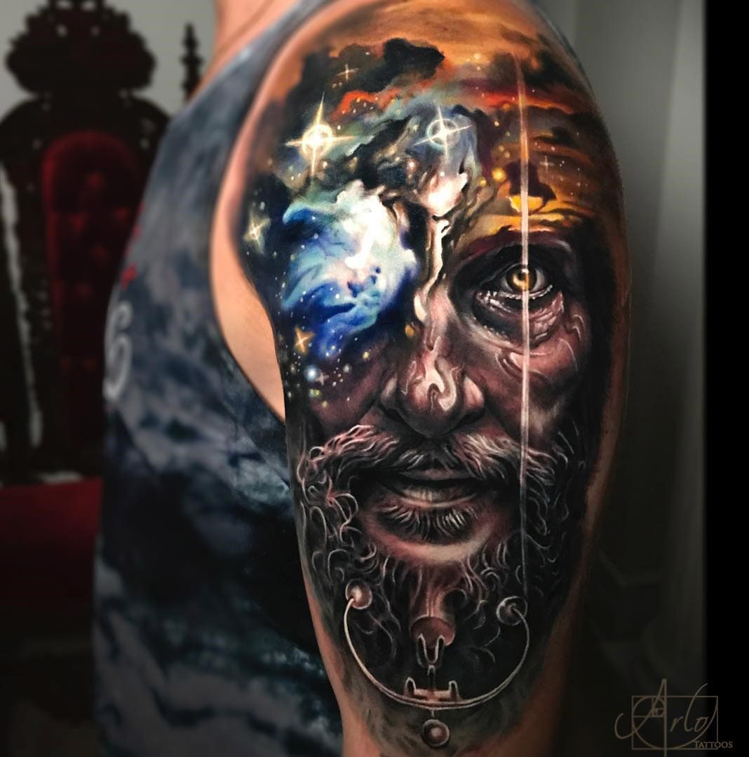Nebula Sunset Face Morph Tattoo Sleeve Designs Sleeve Tattoos