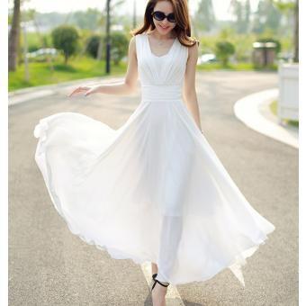 vestido largo elegante sin mangas con cintura alta cuello en V falda grande nuevo verano para Mujer-blanco