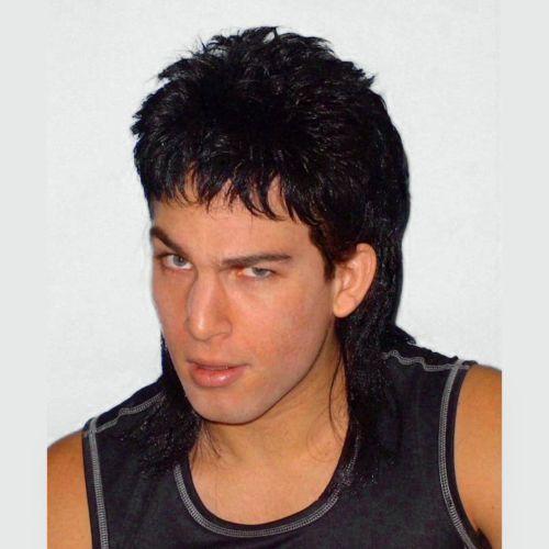 7bfbdc6cd9149 Details about Mullet Wig Black Hair 70 s 80 s Bogan Men s Fancy ...