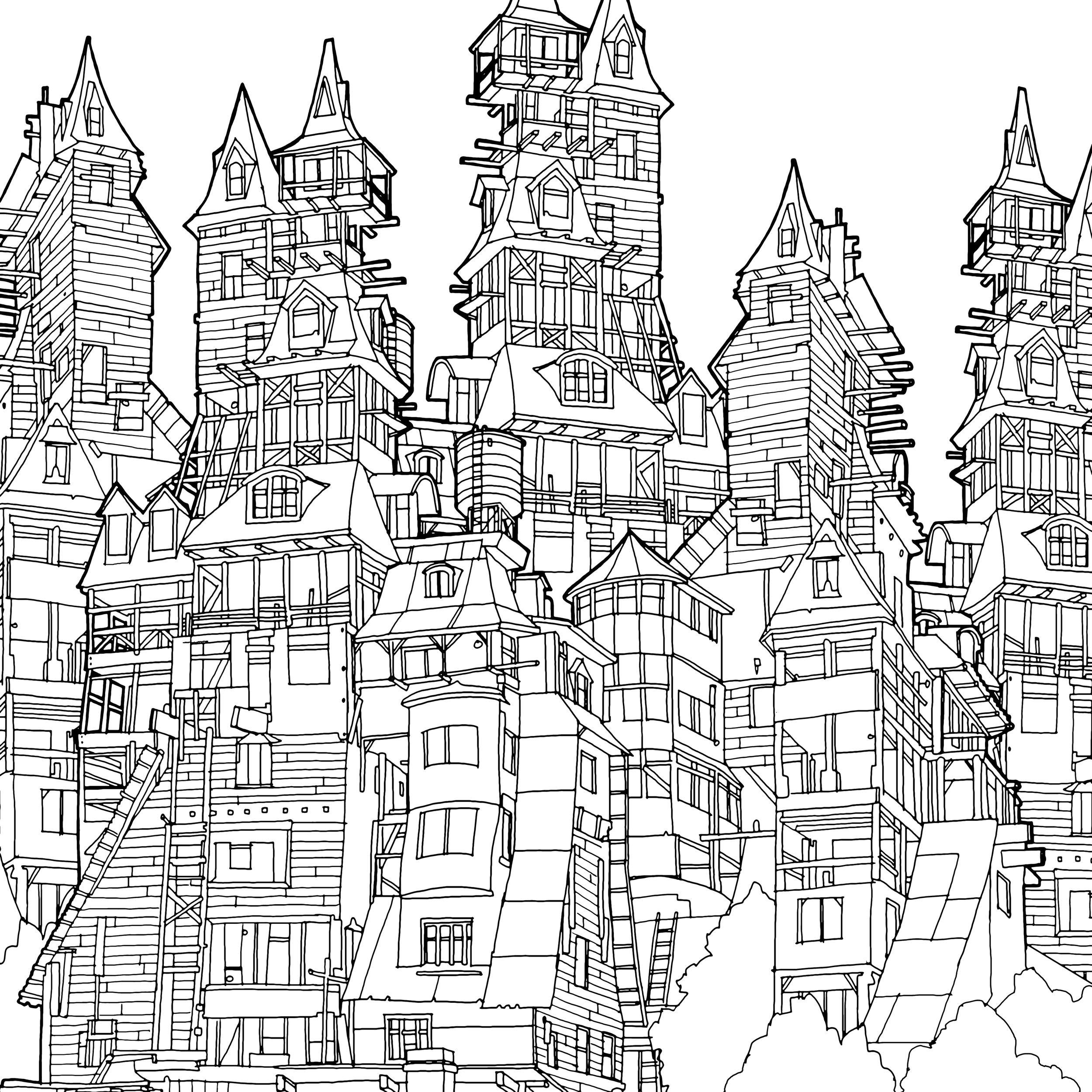 Drawings Steve Mcdonald Fantastic Cities Coloring Book Coloring Pages Coloring Books