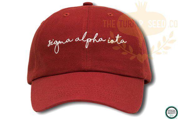 ae216cd8a01 Sigma Alpha Iota Handwriting Script Sorority Baseball Cap - Custom Color Hat  and Embroidery