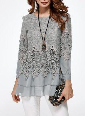 Rosegal Top a tunica croce manica lunga per donna