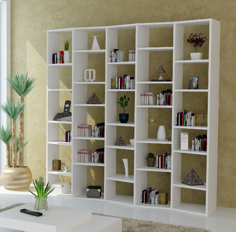 Admirable Huge White Shelving Unit Design with Unique Rectangular Wavy  Shape with Many Shelves in Six