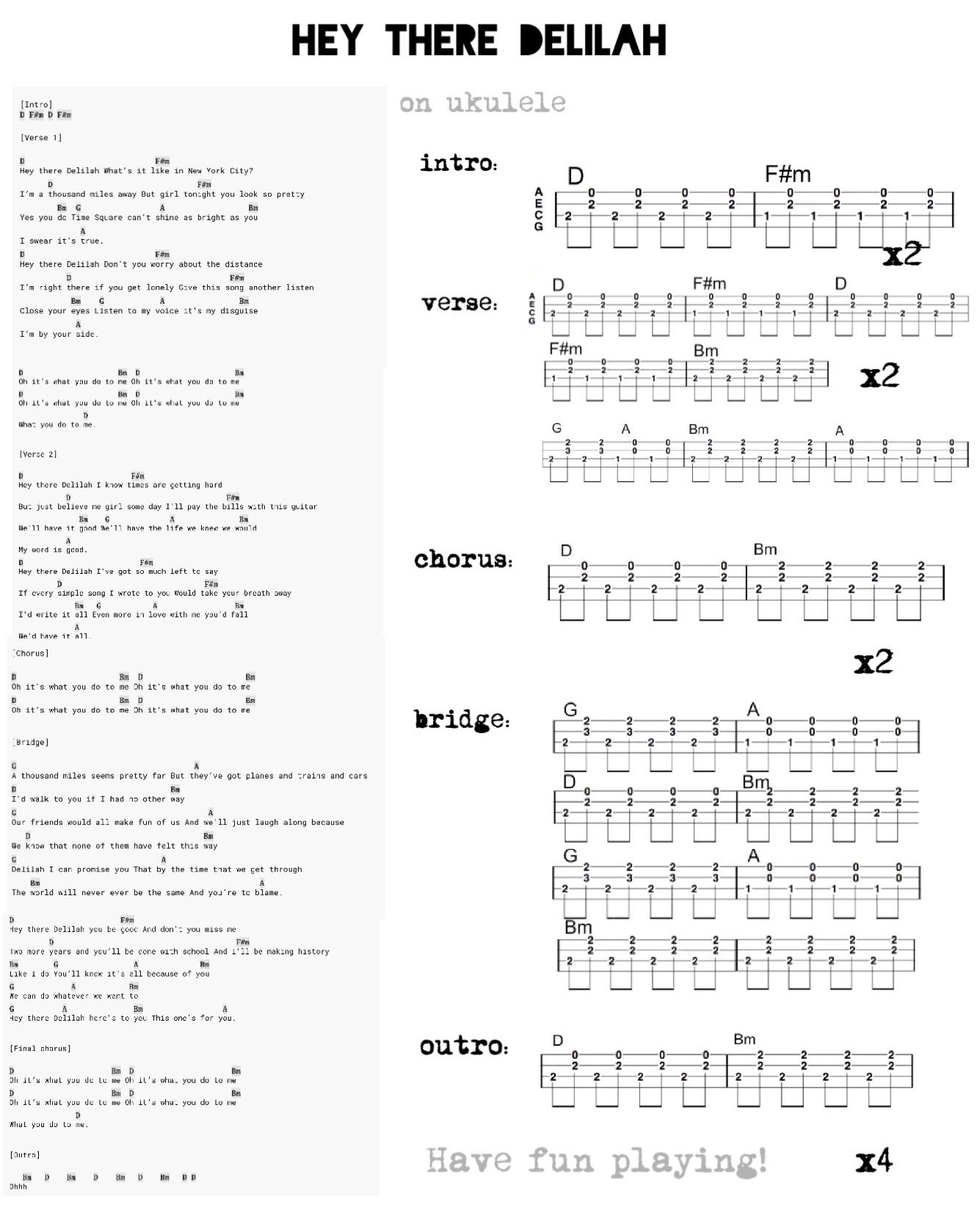 Hey there delilah ukulele   Ukulele, Ukulele fingerpicking songs ...
