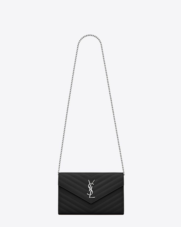 dd0c313ce5d2 Saint Laurent MONOGRAM SAINT LAURENT CHAIN WALLET IN Black GRAIN DE POUDRE TEXTURED  MATELASSÉ LEATHER
