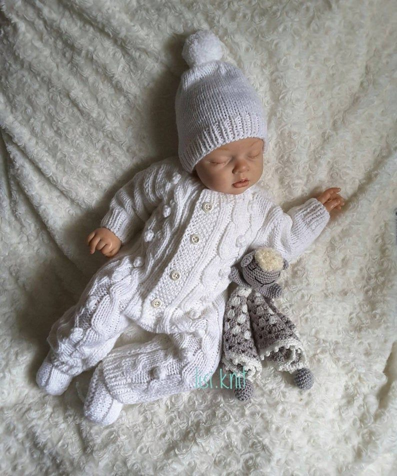 Photo of Hand knitted baby boy girl romper Hand knit baby set Baby knitted clothes Soft knitted jumpsuit Newborn coming home set Newborn knit outfit