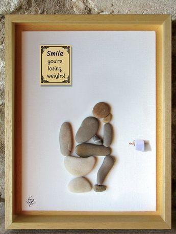 Art de caillou – penseur sur le loo avec des citations drôles de salle de bains – Art brutal – Art drôle – cadeau de décoration -
