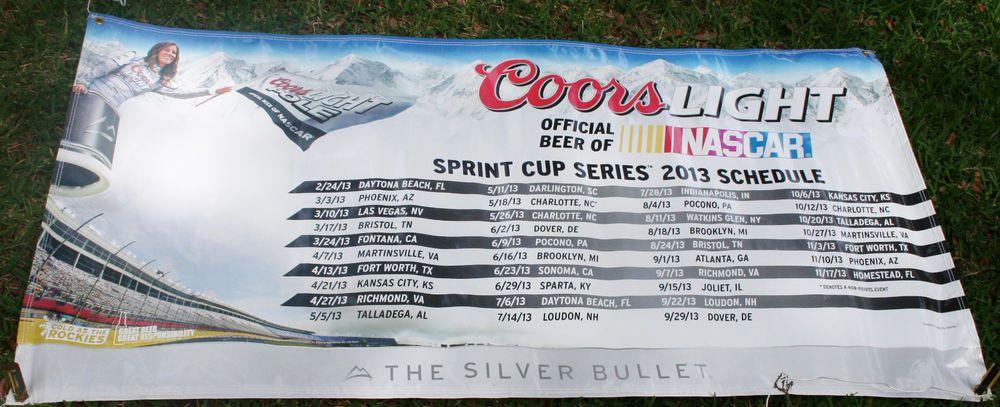 Coors Lite Nascar Sign HUGE 6 Foot Commercial Grade Vinyl Banner Mancave Bar #CoorsLite #SprintCupSeries