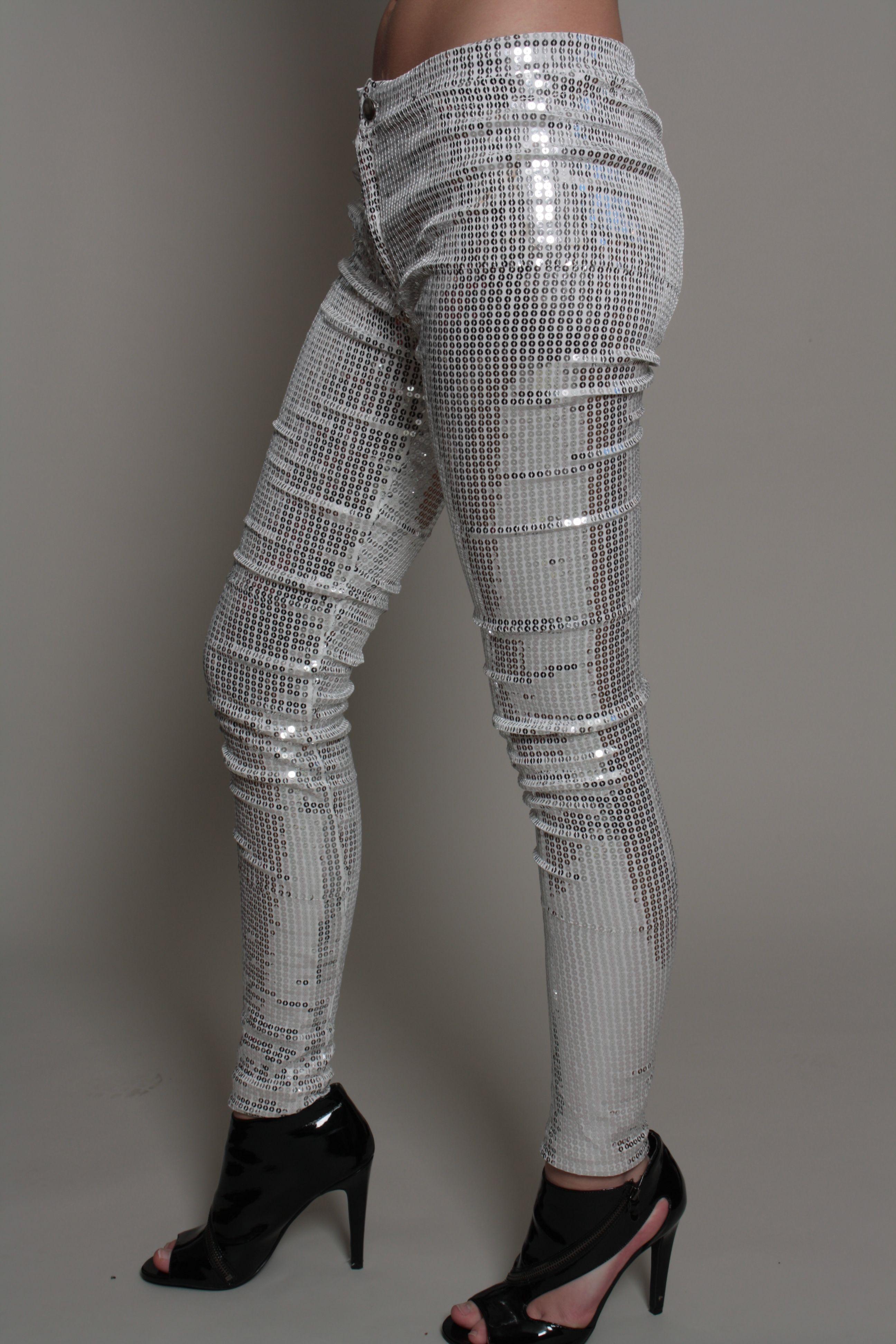 Sequin silver leggings