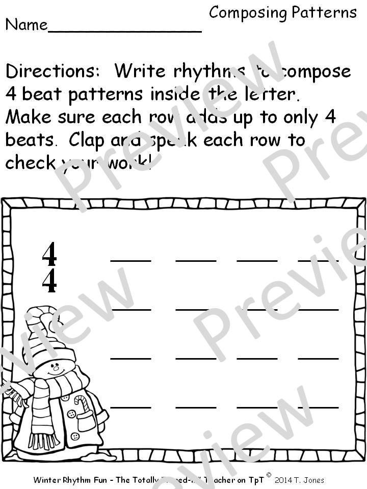 Music Worksheets: Music Math {Winter Rhythm Fun} | Music on Teachers