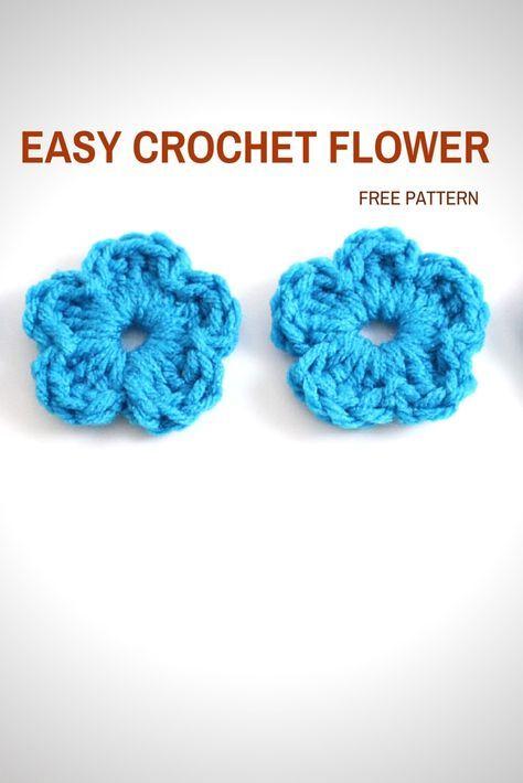 Easy Crochet Flower - Free Pattern & Tutorial | Free crochet flower ...