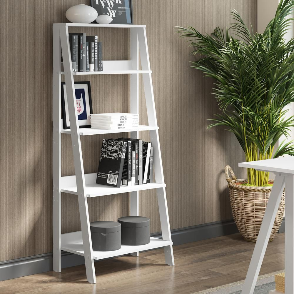 in wood ladder bookshelf white products pinterest ladder