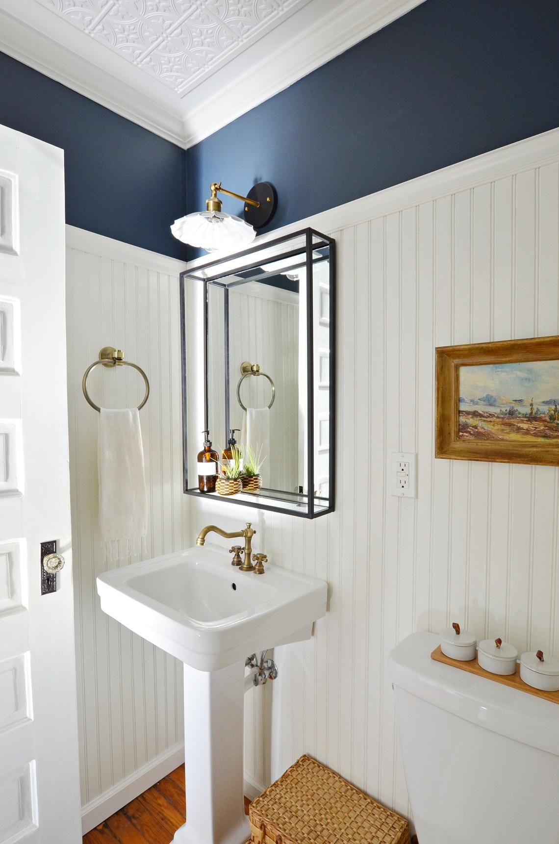 Modern Industrial Black Metal Framed Bathroom Mirror with Shelf | Simplicity in the South #modernpowderrooms