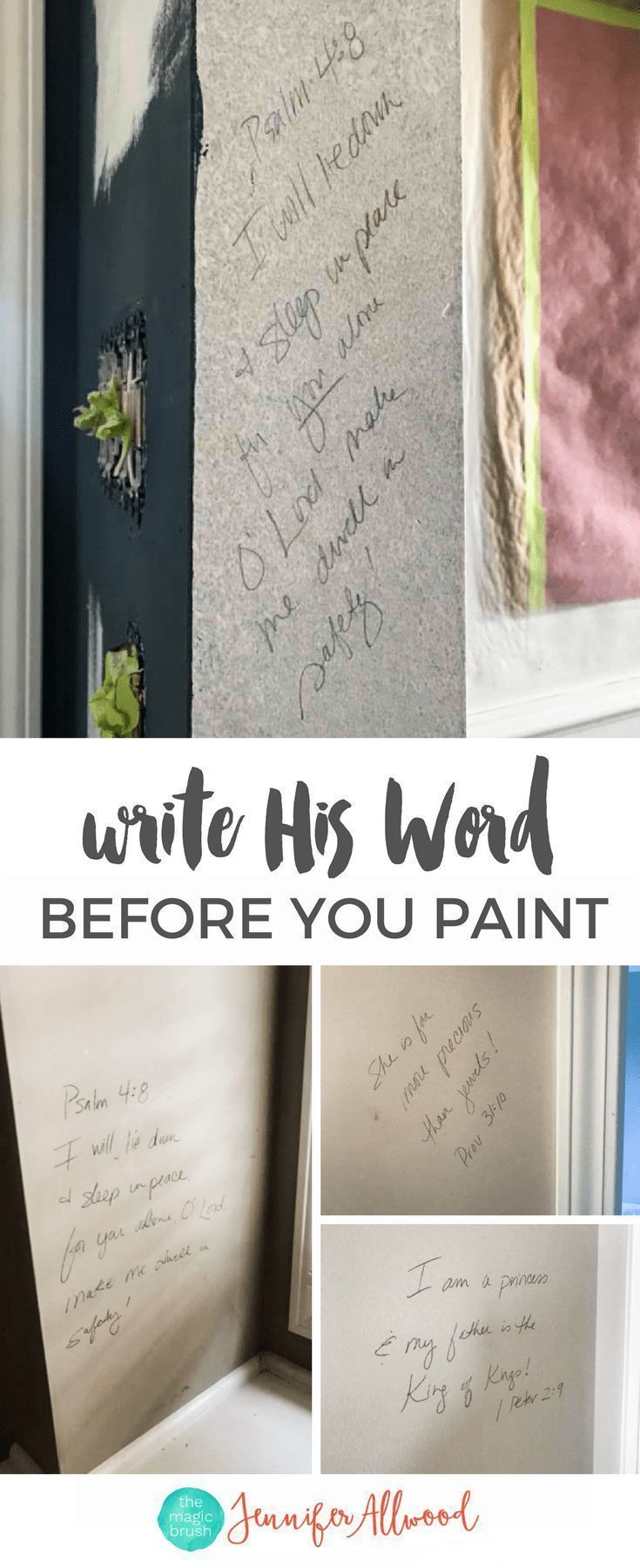 How to's : Writing Bible Scriptures on Walls before you paint by Jennifer Allwood | remodeling tips | Painting Tips | How to Prep before you Paint Walls #paintingtips #paintingrooms #homedecor #DIY