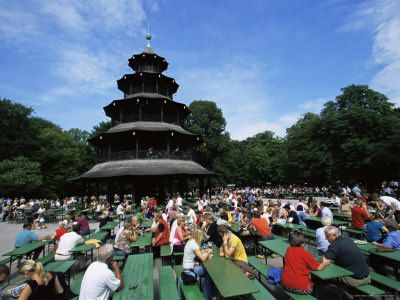People Sitting At The Chinese Tower Beer Garden In The Englischer Garten Munich Bavaria Germany Photographic Print Yadid Levy Art Com Beer Garden Dream Honeymoon Places To See