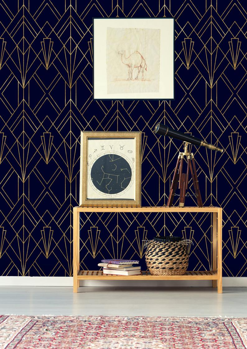 Gold And Navy Blue Geometric Removable Wallpaper Peel And Etsy Geometric Removable Wallpaper Blue And Gold Wallpaper Navy Wallpaper
