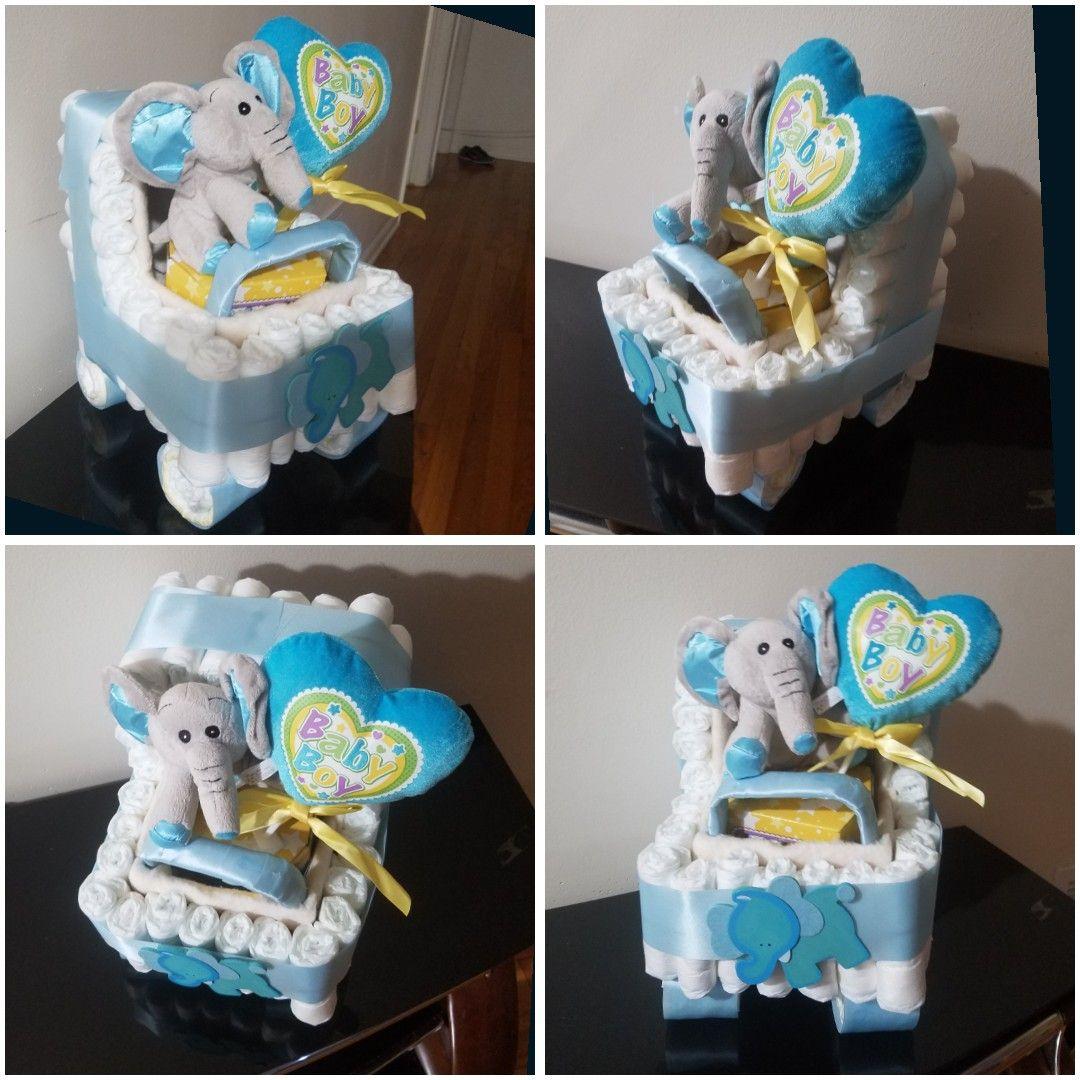 Blue Elephant baby boy diaper stroller
