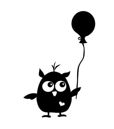 Chouette Et Ballon Noir Et Blanc Owl And Ballon Black And White