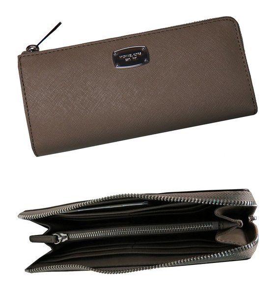 bd653960d9d7 $149 - Michael Kors Jet Set Travel Large Three Quarter Zip Around Leather  Wallet Dark Taupe #michaelkors