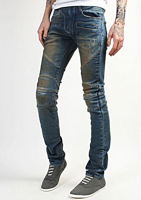 ebay korea_pop motorcycle jeans rider biker pants semi baggy skinny fit oil washed denim jeans edge