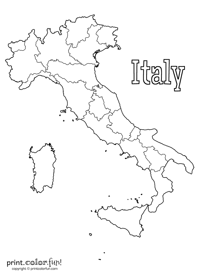 Map of Italy  Print. Color. Fun! Free printables, coloring pages