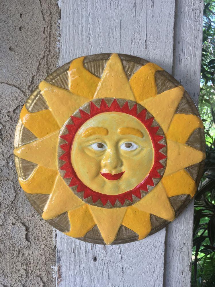 Handcrafted round cement Mayan Sun plaque wall sculpture garden yard ...