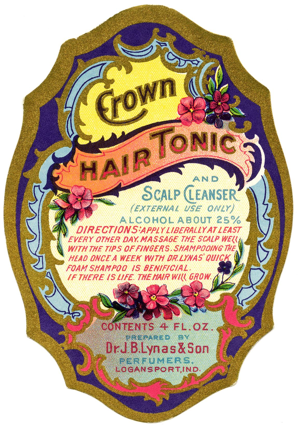 Jb Lynas Son Crown Tonic Label Vintage Beauty Label Graphic