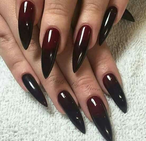 Dark Red Stiletto Nails Goth Nails Scary Nails Gothic Nails