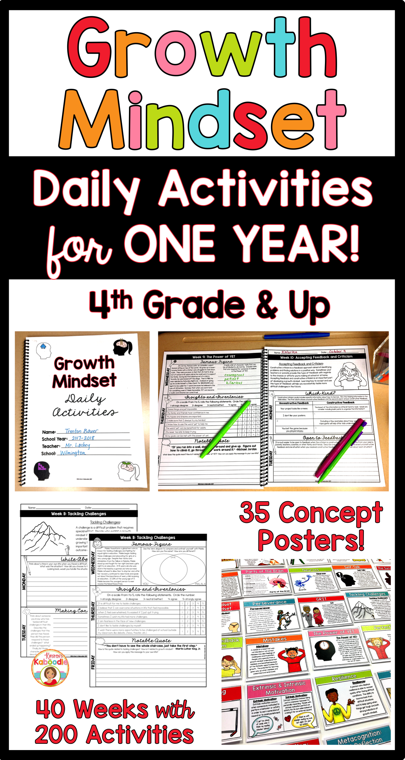 Growth Mindset Bell Ringers Daily Warm Up Journal