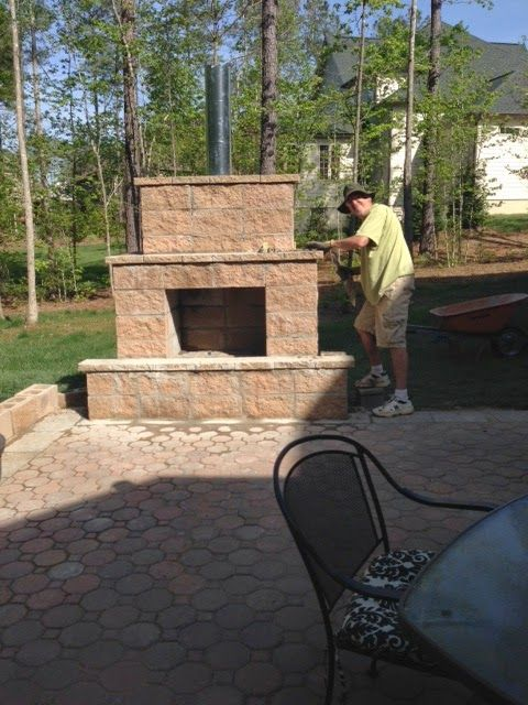 Life in the Barbie Dream House: DIY Paver Patio and ... on Simple Outdoor Brick Fireplace id=29803