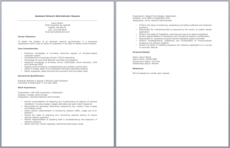 Assistant Network Administrator Resume | resume sample ...