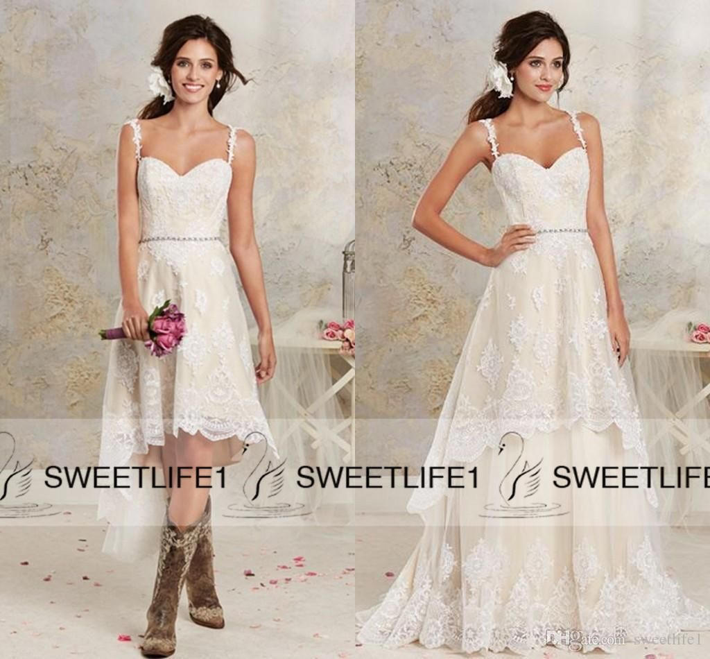 Two pieces country bohemian wedding dresses new sexy spaghetti