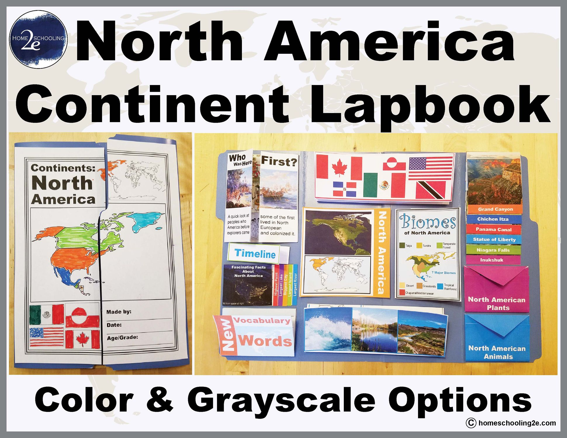 The North America Continent Lapbook teaches about