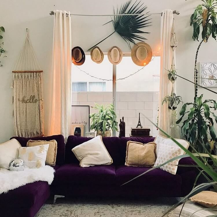 A Great Deal Of Components Could Satisfy This Job For Example The Purple Velvet Sofas Can Be An Ey Velvet Couch Living Room Bohemian Living Rooms Couch Decor