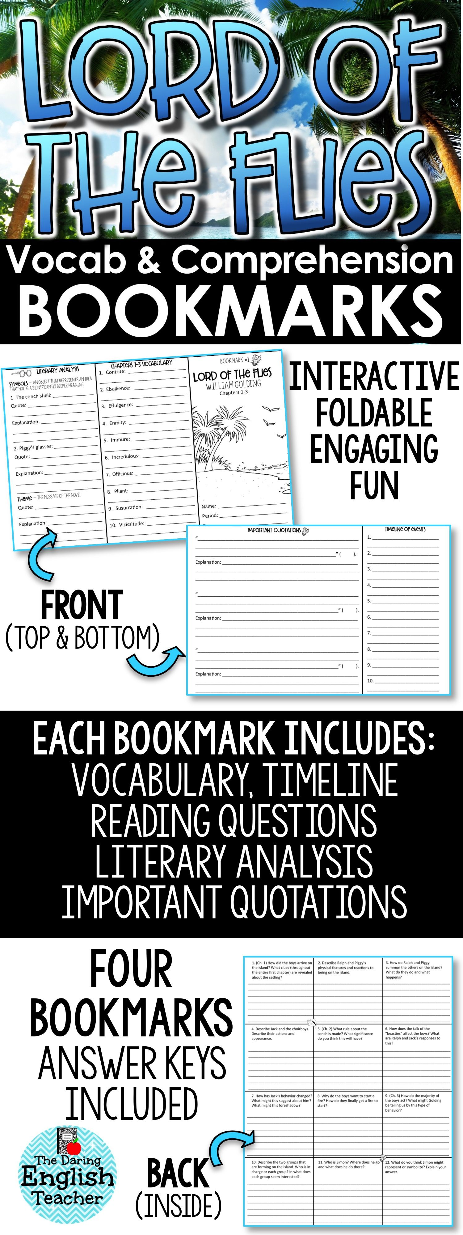 Lord Of The Flies Interactive Bookmark Questions Analysis