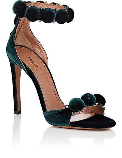 fake for sale Alaïa Velvet Ankle-Strap Sandals free shipping finishline outlet discounts H9E6YT5FP