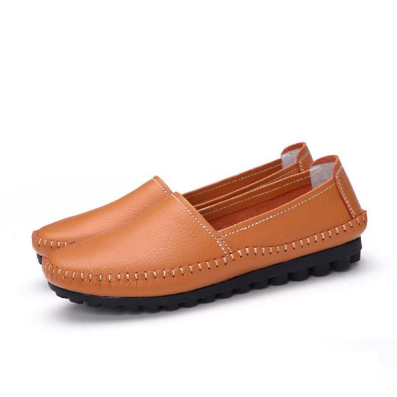 Pure Color Leather Soft Comfortable Slip On Stitching Flat Loafers - Gchoic.com