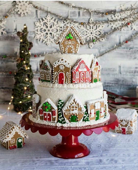 Tiered Gingerbread House Cake christmas decor and ideas