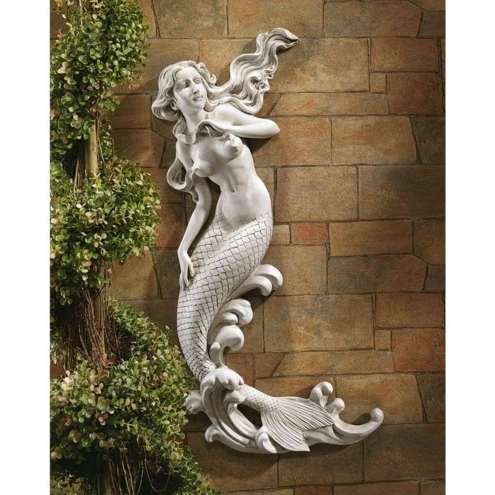 Mermaid Outdoor Wall Statue Siren Sculpture Garden Pool Whimsy Fantasy Art