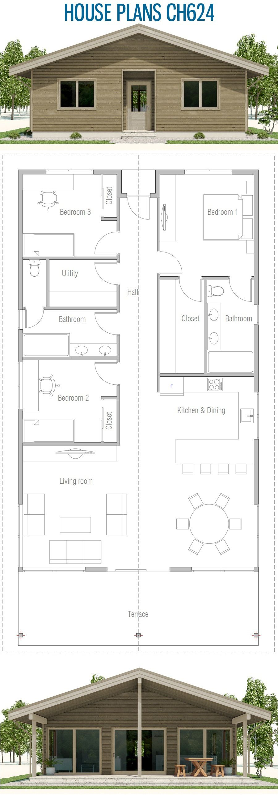 Small House Plan Ch624 My House Plans House Plans Small House Plan