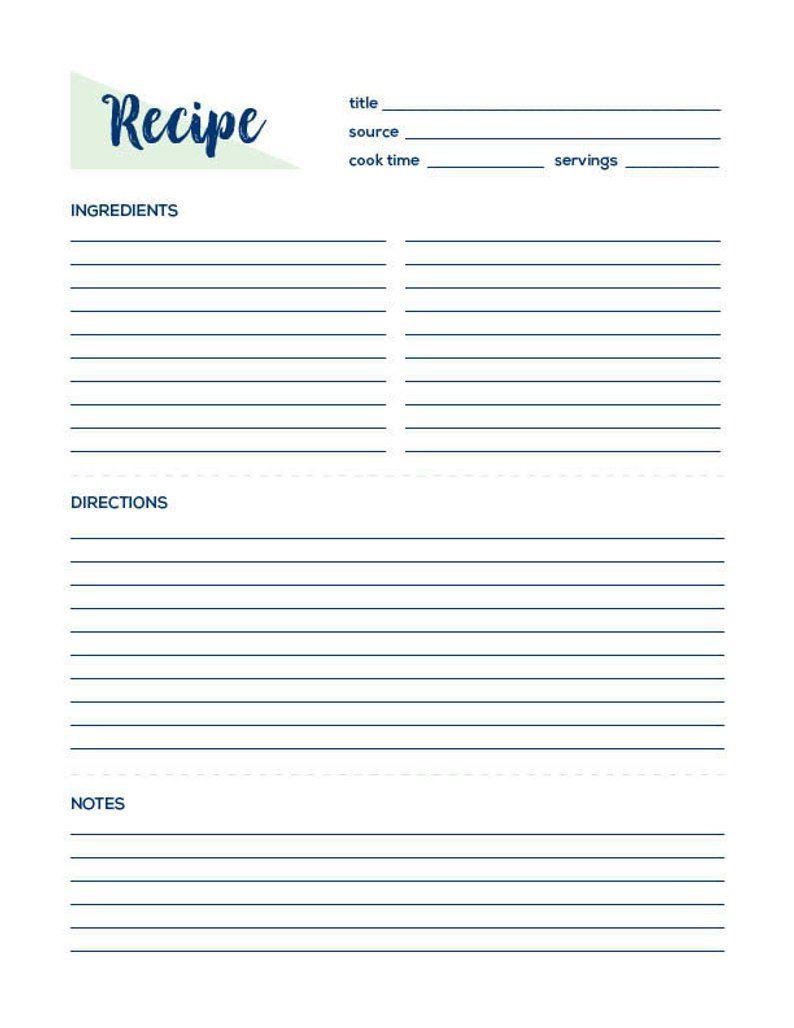 Recipe Page Recipe Printable Recipe Card Recipe Template Etsy Food Printables Printable Recipe Cards Recipe Sheets